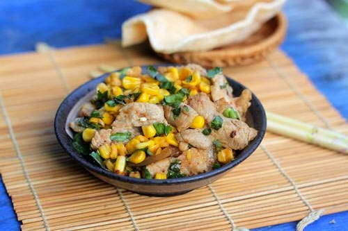 Fried Pork Belly with Sweet Corn