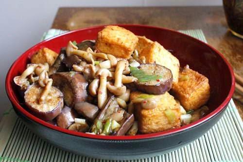 Fried Tofu with Eggplant and Mushrooms