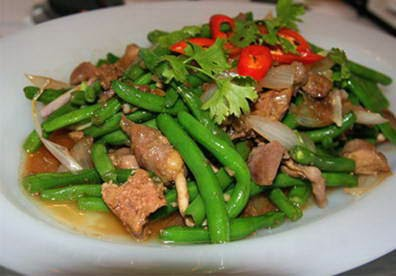 Stir fried French Beans with Chicken Organs